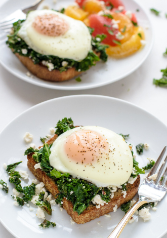 an-easy-healthy-dinner-kale-feta-eggs-florentine-on-toast