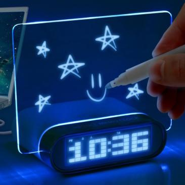Glowing-Memo-Alarm-Clock. Cuter than a sticky note right